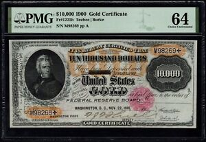 Click now to see the BUY IT NOW Price! USA 1900 GOLD CERTIFICATE $10000 FR 1225H PMG 64 UNC   CENCELLED