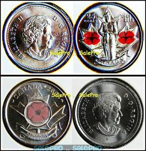 2X CANADA 2004 & 2010 QUARTER WWII VETERAN COLORIZED POPPY 25 CENT COINS LOT