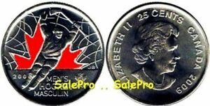 CANADA 2009 CANADIAN OLYMPIC MEN'S HOCKEY 25 CENT '2' COLORIZED COIN LOT UNC