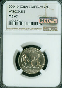 Click now to see the BUY IT NOW Price! 2004 D WISCONSIN STATE QUARTER EXTRA LEAF LOW NGC MS 67 PQ MAC SPOTLESS  .