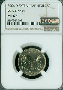 Click now to see the BUY IT NOW Price! 2004 D WISCONSIN STATE QUARTER EXTRA LEAF HIGH NGC MS 67 PQ MAC SPOTLESS  .