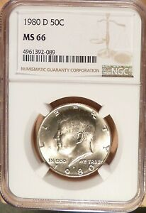 1980 D KENNEDY HALF DOLLAR NGC GRADED MS66 LIGHTLY TONED LUSTER.