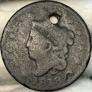 1818 1C MATRON / CORONET HEAD LARGE CENT     GREAT LOOKING EARLY US COPPER