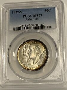 Click now to see the BUY IT NOW Price! 1937 S ARKANSAS COMMEMORATIVE HALF DOLLAR PCGS MS67