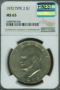 Click now to see the BUY IT NOW Price! 1972 TYPE 2 EISENHOWER DOLLAR NGC MS65 PQ MAC FINEST REGISTRY  KEY