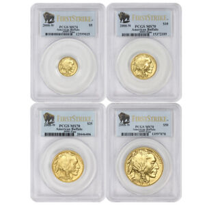 Click now to see the BUY IT NOW Price! SET OF 4 2008 W AMERICAN GOLD BUFFALOS PCGS SP70 FIRST STRIKE BURNISHED BUFFALO