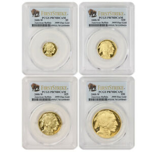 Click now to see the BUY IT NOW Price! SET OF 4 2008 W AMERICAN GOLD BUFFALO PROOFS PCGS PR70DCAM FIRST STRIKE BUFFALOS