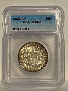 Click now to see the BUY IT NOW Price! 1936 D RHODE ISLAND ICG MS 67   PRETTY TONED COMMEMORATIVE HALF DOLLAR