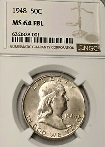 1948 FRANKLIN HALF DOLLAR NGC MS64 FBL FULL BELL NICE LUSTER CLEAN BEAUTY