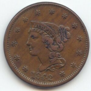 1842 LARGE DATE BRAIDED HAIR LARGE CENT ORIGINAL XF
