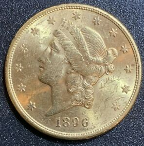 1896 S $20 GOLD DOUBLE EAGLE LIBERTY COIN