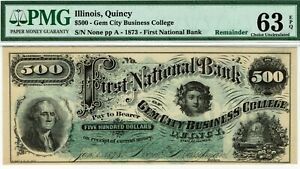 QUINCY ILLINOIS $500 FIRST NATIONAL BANK PMG 63 EPQ CHOICE UNCIRCULATED. BEEHIVE
