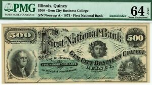 QUINCY ILLINOIS $500 FIRST NATIONAL BANK PMG 64 EPQ CHOICE UNCIRCULATED. BEEHIVE
