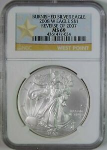 2008 W REVERSE OF 2007 BURNISHED AMERICAN SILVER EAGLE 1OZ NGC GRADED MS69