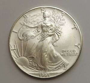 BETTER DATE 1995 $1 DOLLAR 1 OUNCE .999 FINE SILVER EAGLE UNCIRCULATED COIN