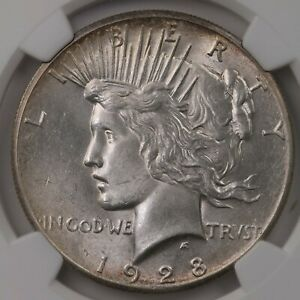1928 PEACE $1 NGC CERTIFIED MS61 MINT STATE GRADED SILVER DOLLAR COIN