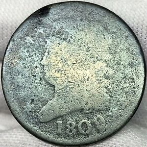 1809 1/2C CLASSIC HEAD HALF CENT     GREAT LOOKING EARLY US COPPER