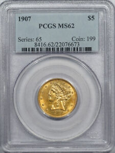 1907 $5 LIBERTY HEAD GOLD   PCGS MS 62 PRETTY COLOR AND FLASHY
