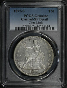 1877 S TRADE DOLLAR PCGS XF DETAILS CLEANED CHOP MARK