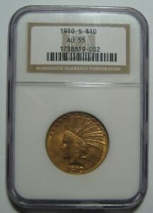 1910 S AU55 NGC $10 INDIAN GOLD PIECE CERTIFIED LOWER MINTAGE 811K