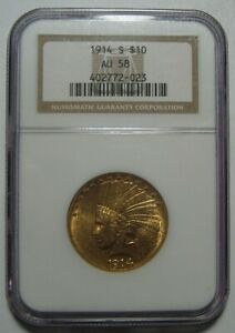 1914 S AU58 NGC $10 INDIAN GOLD PIECE CERTIFIED LOW MINTAGE 208K FREE SHIP