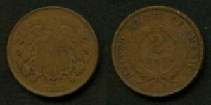 VERY NICE 1868 COPPER TIN ZINC TWO CENT PIECE COIN NICE FINE