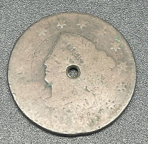 1818 MATRON OR CORONET HEAD LARGE CENT COIN 1C
