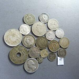 LOT OF 18 WORLDWIDE 86 GRAM SILVER/COPPER COINS 1800'S 1900'S  1/4 REAL  47