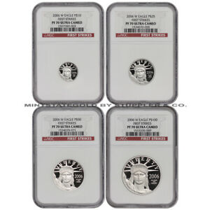 Click now to see the BUY IT NOW Price! SET OF 4 2006 W PLATINUM EAGLES NGC PF70UCAM FIRST STRIKES PROOF EAGLE COINS FS