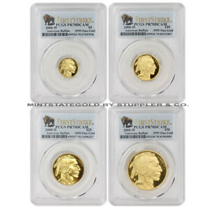 Click now to see the BUY IT NOW Price! SET OF 4 2008 W GOLD BUFFALO PROOFS PCGS PR70DCAM FIRST STRIKE BUFFALOS COINS FS