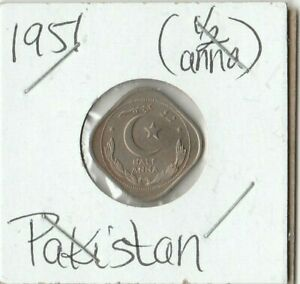 1951 PAKISTAN 1/2 ANNA COIN   CRESCENT OPENS TO THE RIGHT KM2