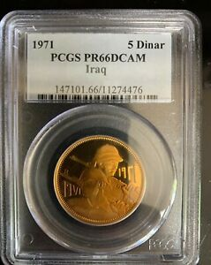 Click now to see the BUY IT NOW Price! 1971 IRAQ 5 DINARS   50TH ANNIV ARMY   GOLD PROOF   PCGS PR 66 DCAM