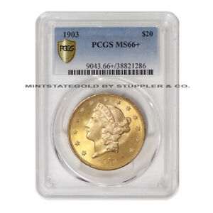 Click now to see the BUY IT NOW Price! FINEST 1903 $20 GOLD LIBERTY PCGS MS66  TOP GRADE DOUBLE EAGLE PHILADELPHIA COIN