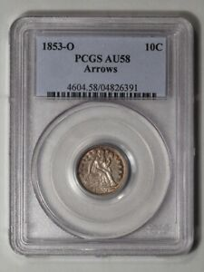 Click now to see the BUY IT NOW Price! 1853 O 10C ARROWS LIBERTY SEATED DIME PCGS AU58