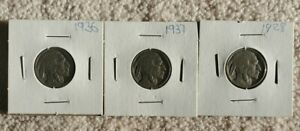 1928 /1936 / 1937 USA 5 CENT NICKEL   3 COINS TOTAL