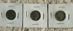 1926 /1935 / 1936 USA 5 CENT NICKEL   3 COINS TOTAL