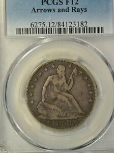 1853 SEATED HALF DOLLAR ARROWS AND RAYS PCGS F12