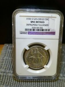 1935 S SAN DIEGO 50C GRADED NGC CERT  UNC DETAIL CLEANED