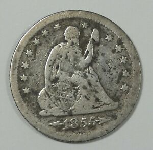BARGAIN 1855 S LIBERTY SEATED SILVER QUARTER WITH ARROWS AT THE DATE GOOD