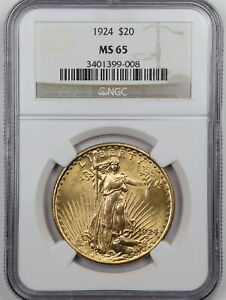 1924 $20 SANT GAUDENS GOLD DOUBLE EAGLE MS65 NGC 3401399 008
