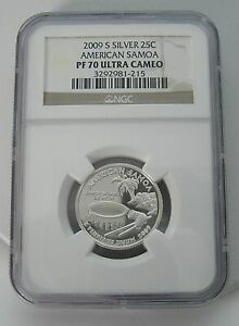 2009 S SILVER 25 CENT AMERICAN SAMOA PF 70 ULTRA CAMEO NGC GORGEOUS COIN SLABBED