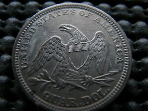 1861 P SEATED QUARTER WITH DIE CRACKS AND CUDS