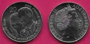 AUSTRALIA 20 CENTS 2011 UNC ROYAL WEDDING PRINCE WILLIAMS AND CATHERINE MIDDLETO