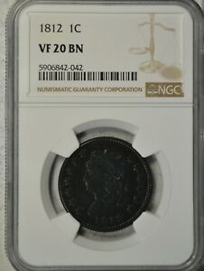 1812 CLASSIC HEAD LARGE CENT NGC VF20