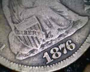 1876 CC SEATED DIME WITH MISPLACED DATE SKU 0941