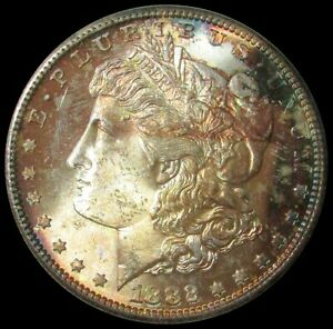 1882 S MORGAN SILVER DOLLAR $1 MASTERPIECE COLLECTION MINT STATE ORIGINAL COLOR