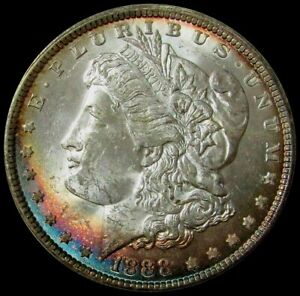 1888 MORGAN SILVER $1 DOLLAR COIN MASTERPIECE COLLECTION MINT STATE COLORS