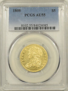 1808 $5 CAPPED BUST GOLD HALF EAGLE PCGS AU 55 FLASHY & WELL STRUCK