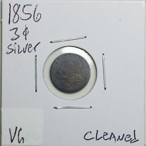 1856 3CS THREE CENT SILVER WITH VG DETAIL CLEANED 06539
