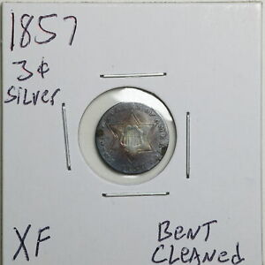1857 3CS THREE CENT SILVER WITH XF DETAIL BENT CLEANED 06540